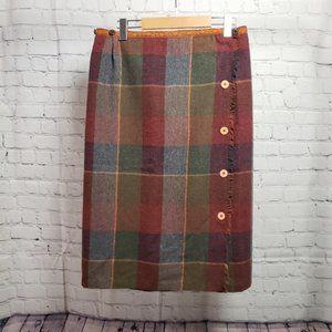 Vintage Plaid Midi Skirt Red Kilt High Waisted 70s MCM 1970s Mid Century Modern